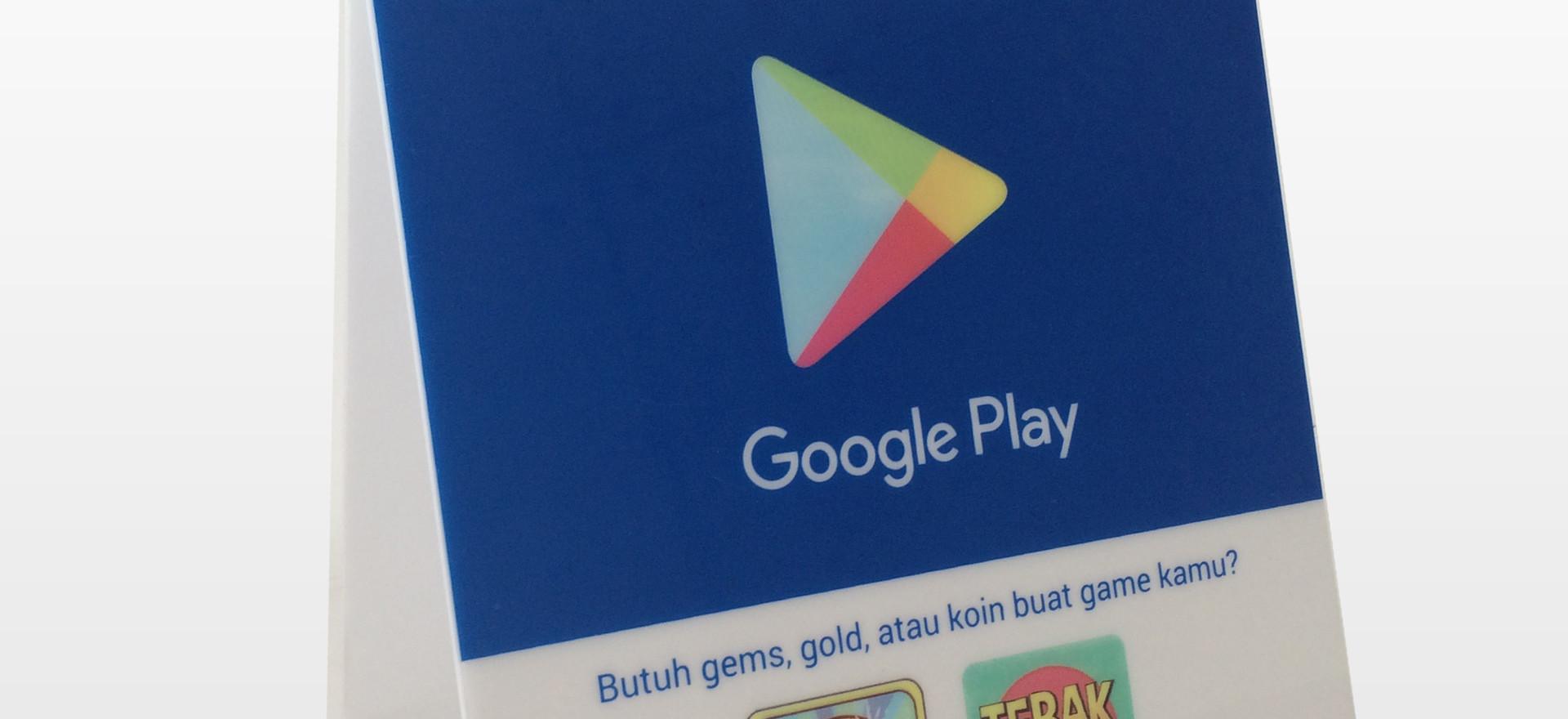 POP Acrylic Tent Card - Google Play Mockup