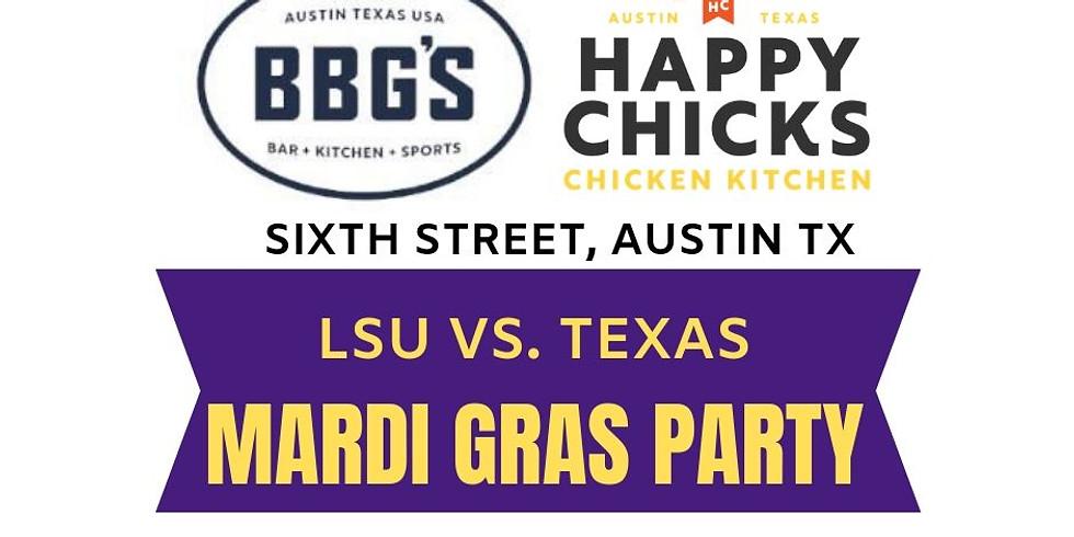 Friday: Mardi Gras at BBG's + Happy Chick's on 6th Street