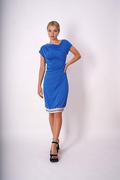 Jersey dress with lurex ribbing in lightblue