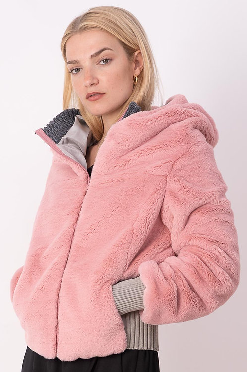 Synthetic Fur Jacket in Rose