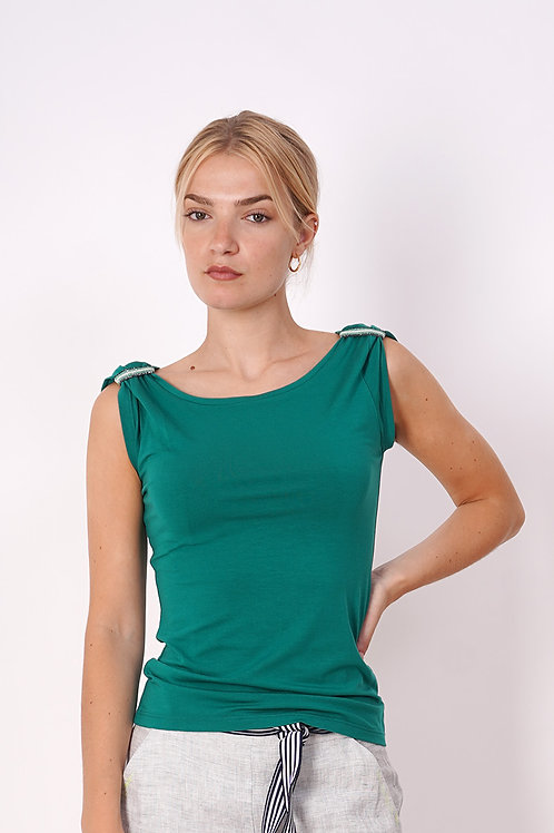 T-shirt With Collar Ribbing in Green