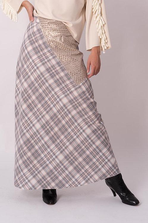 Long skirt in Rose Tartan with Lurex detail