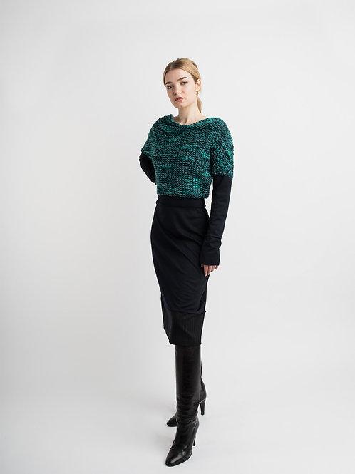 Long Dress in turquoise bouclé