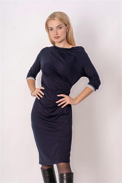 Draped Dress in Blue With Lurex Ribbing