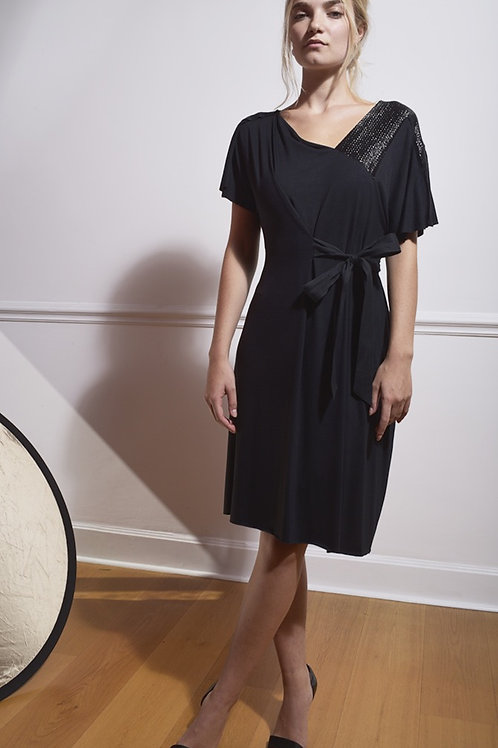 Assymetric Dress in Black with Lurex Insert