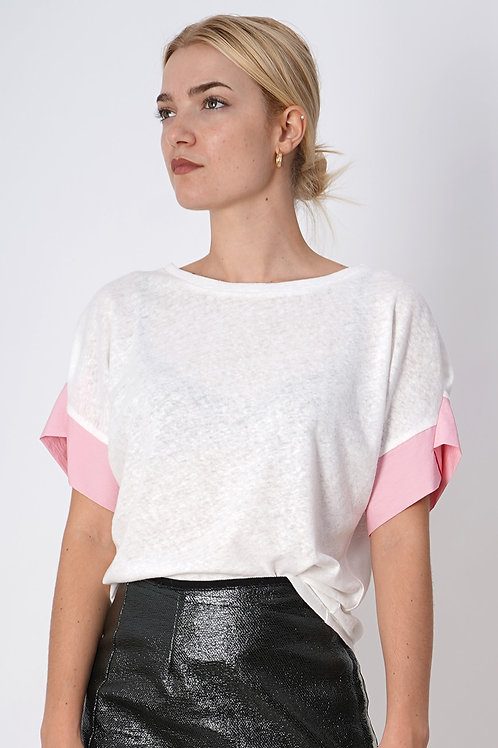 Short Sleeve Top in White+Pink