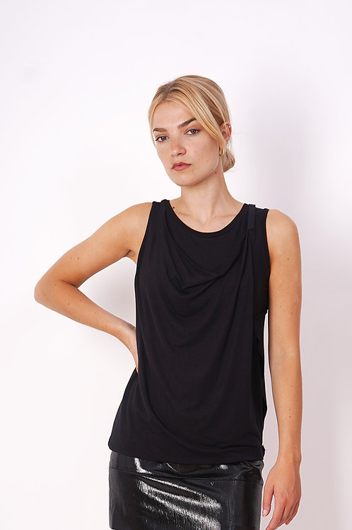 T-shirt With Draping and Band in Black