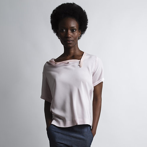 Silk Top With Collar Draping in Rose