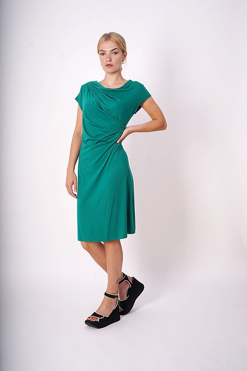 Draped Jersey Dress in Green