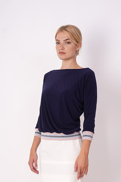 Blue Pull With ribbing in lurex