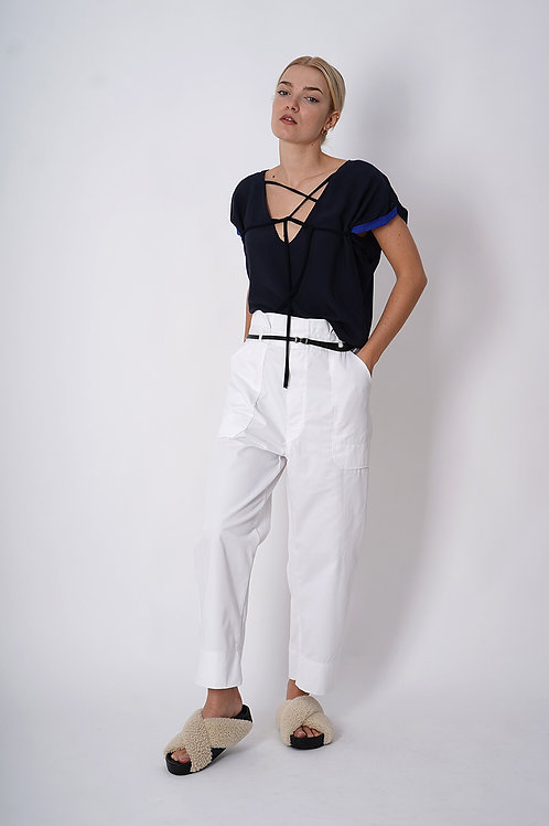 Laced Top in Navy or Royal Blue