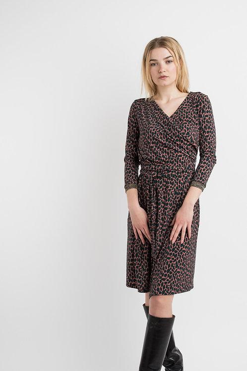 Jersey dress in kaki/bordeaux print