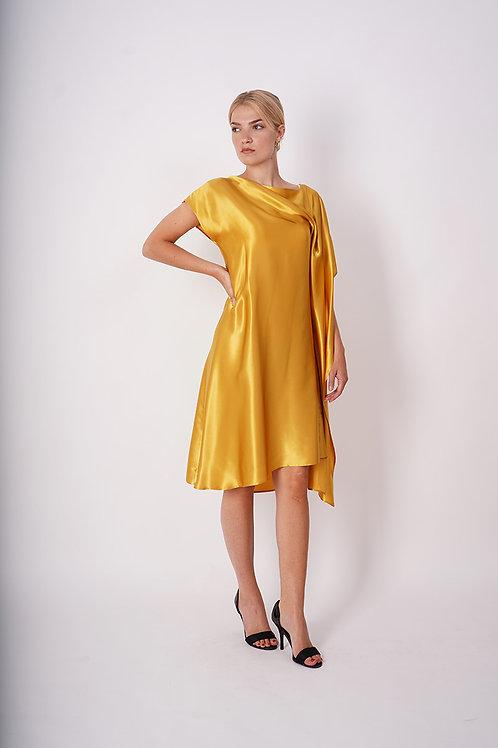 Asymmetrical Silk Dress in Gold