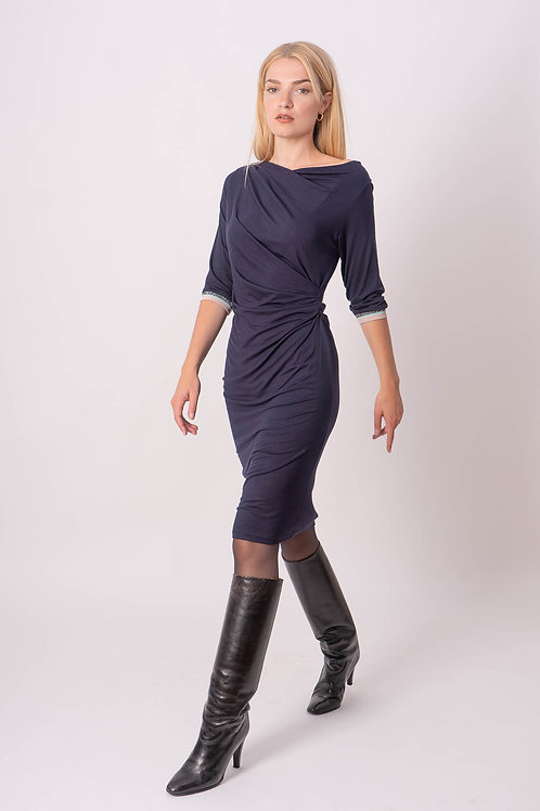 Draped Dress in Blue With Lurex Ribbing