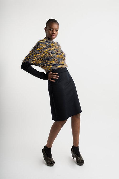 Dress in mustard bouclé