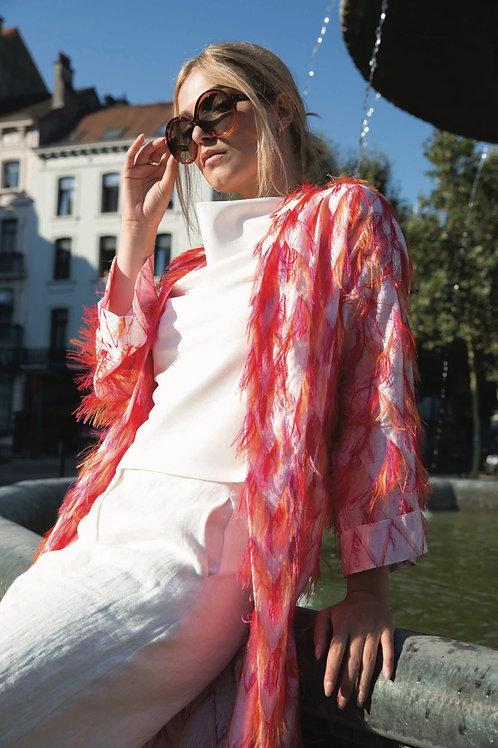 Pinky Orange Summercoat with Fringes