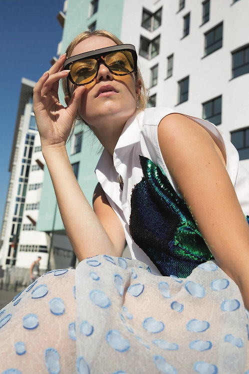 Sleeveless Shirt with Sequins
