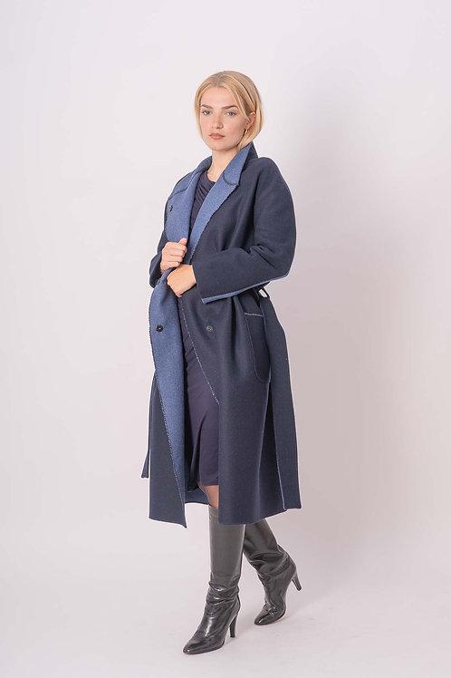 Long Wool Coat in Blue