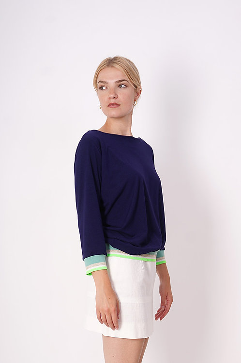 Blue Pull With ribbing in neongreen/ lurex/mint