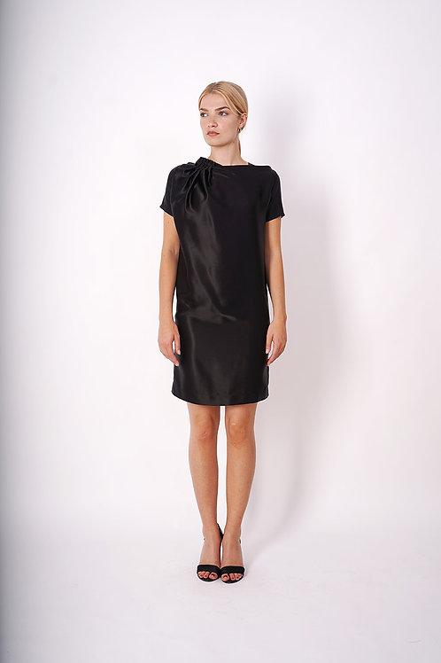 Silk Dress in Black Satin