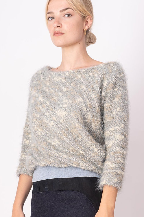 Pull in Beige With Blue Ribbing