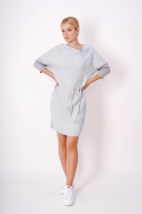 Dress in Linnen+cotton jersey