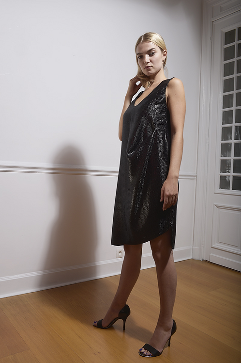 Shiny Black Cocktail Dress