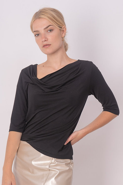 Draped Jersey Top in Navy or Black
