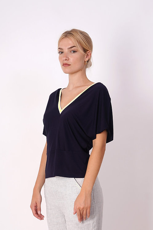 V-neck T-shirt With Fluo Detail in Navy