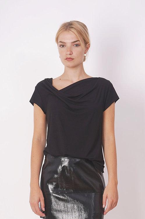 Draped T-shirt in Black