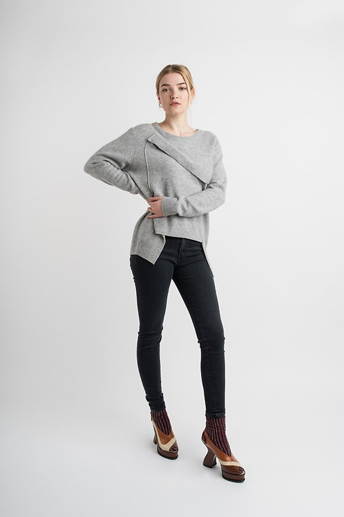 Deconstructed Wool Pullover in Grey