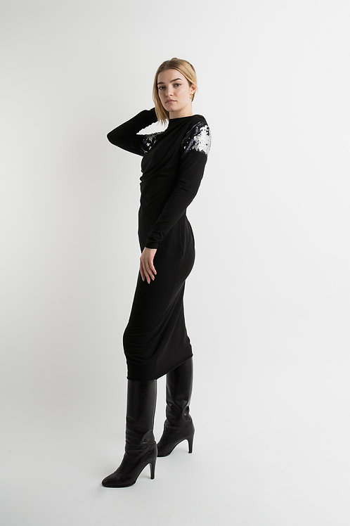 Long Jersey Dress in Black with sequins