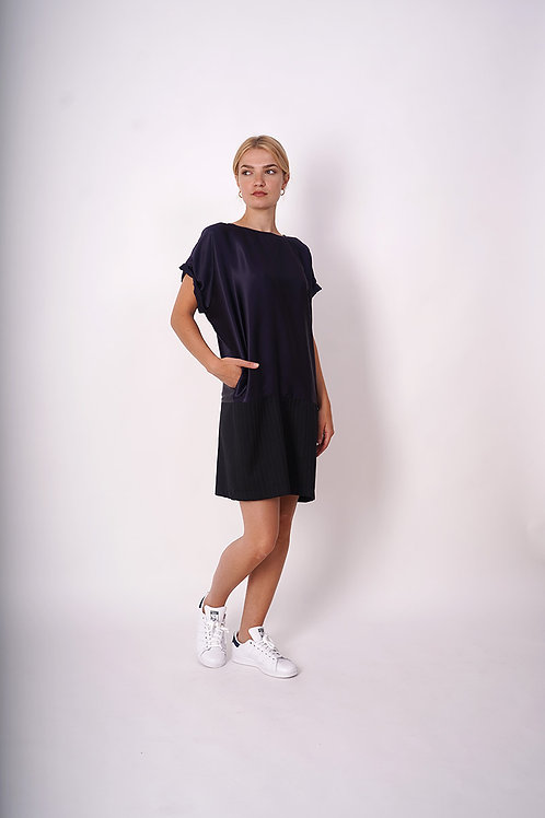 Silk/ cotton- Wool  Dess in navy