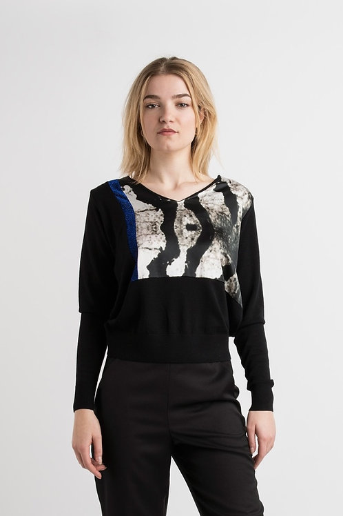 Pullover in Black Merino wool wit Silk print