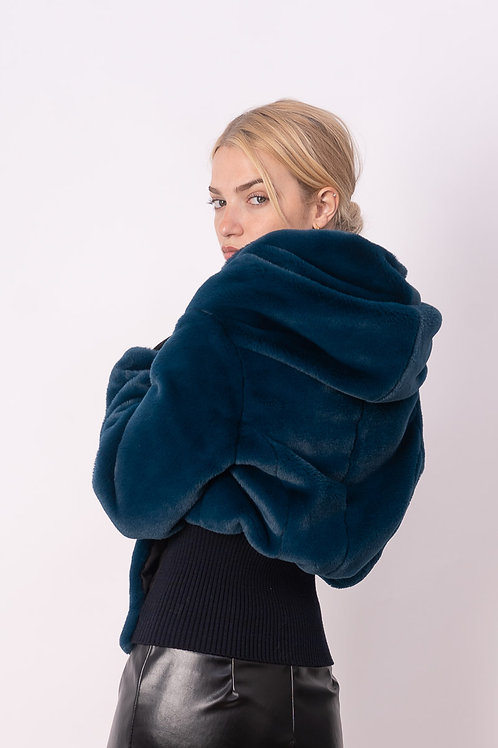 Fake Fur Jacket in Petrol