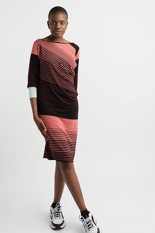 Jersey Dress with Red Stripes