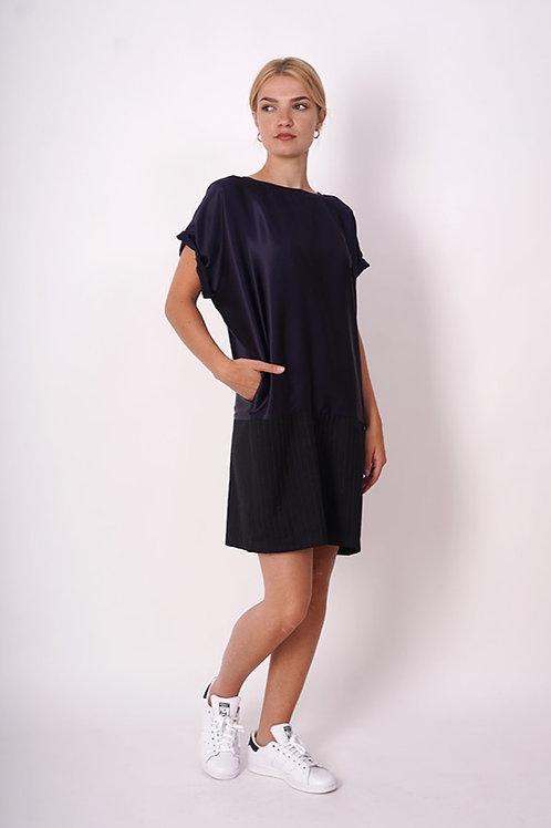 Silk/ cotton- Wool  Dress in navy