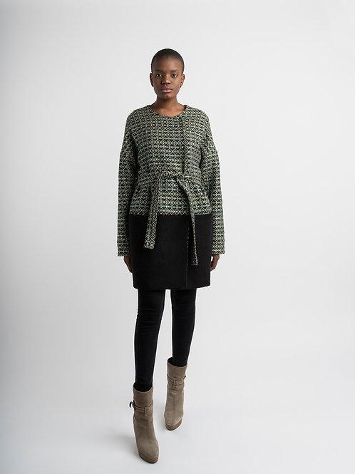 Coat in lurex/ wool mix fabric
