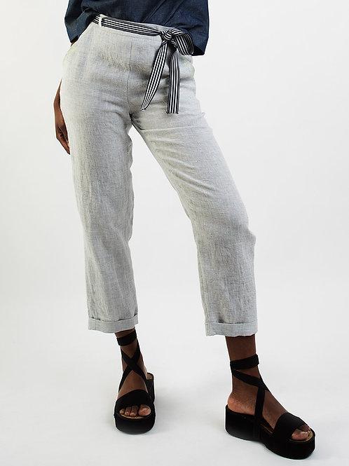 Pants in Grey and bluemelange Linnen