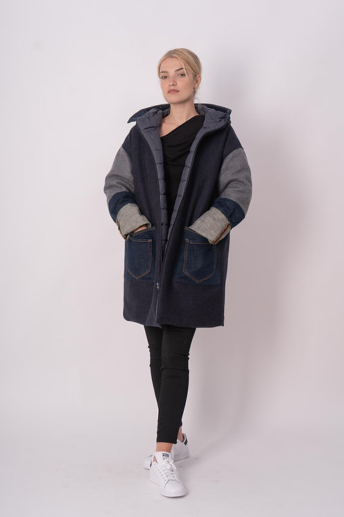 Reversible Coat in Wool/Jeans Mix with Padded Lining