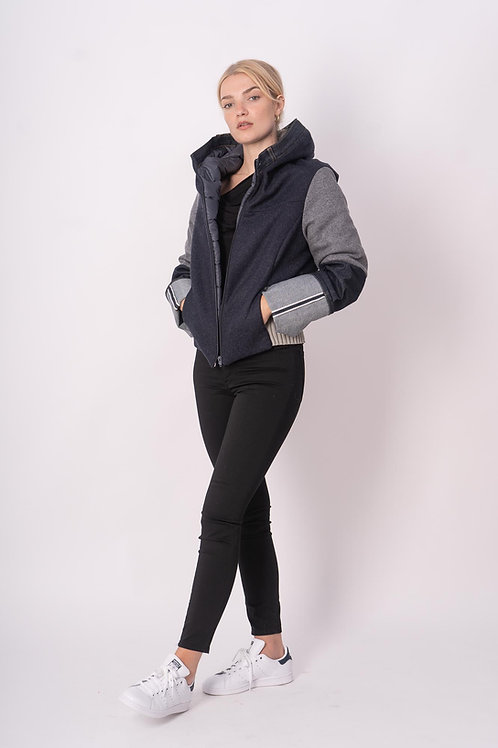 Hooded Blouson in Wool/Jeans mix
