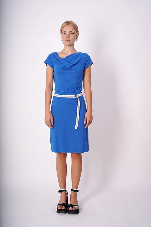 Jersey Dress With Belt in Lightblue