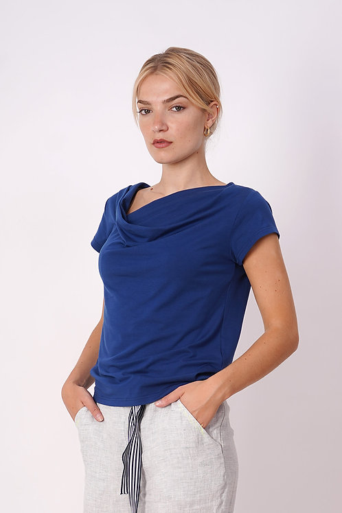Draped T-shirt in Blue and Light Blue