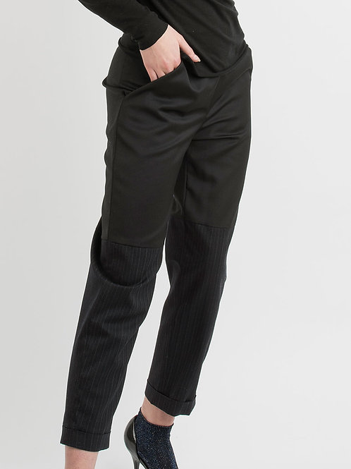 Wool Pants in black with stripes