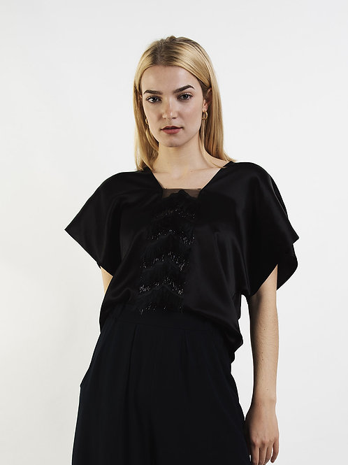 Silk Top With Fringes