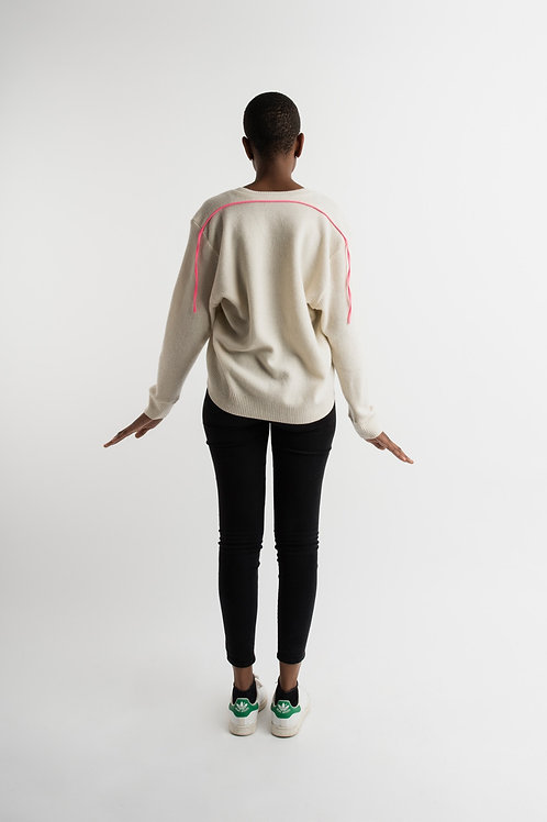 Wool pullover with pink fluo band