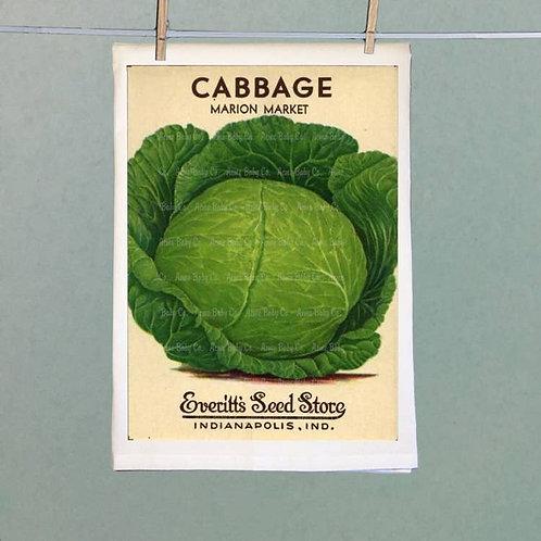 Vintage Seed Packet--Cabbage Tea Towel