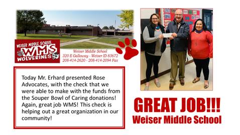 Weiser Middle School Fundraiser 2021
