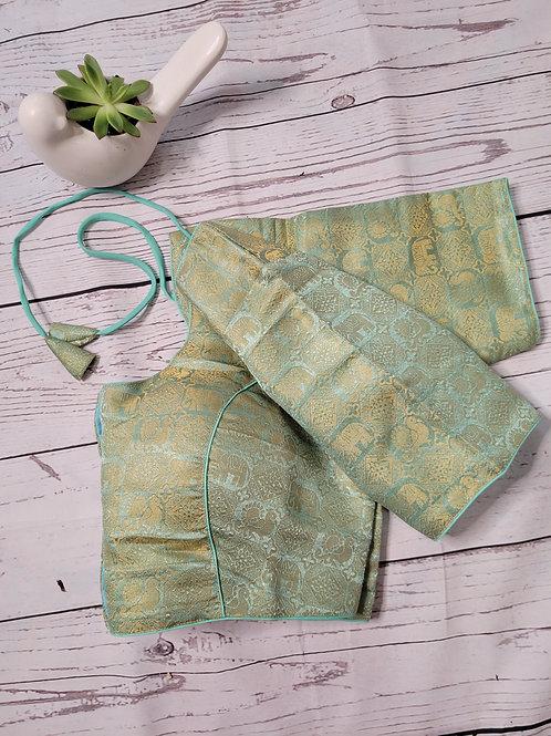 Pistachio Green brocade readymade blouse for Indian saree