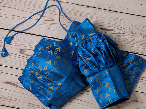 Copper Sulphate blue brocade readymade blouse for Indian saree